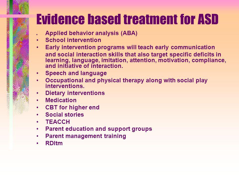 Evidence based treatment for ASD.