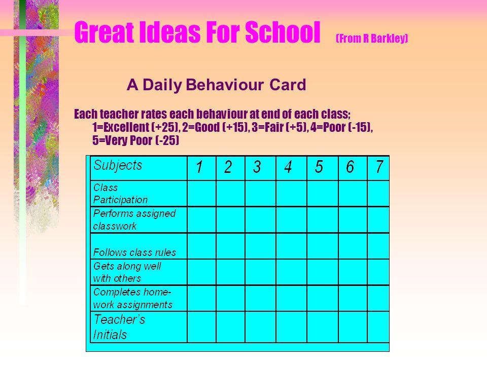 Great Ideas For School (From R Barkley) Each teacher rates each behaviour at end of each class; 1=Excellent (+25), 2=Good (+15), 3=Fair (+5), 4=Poor (-15), 5=Very Poor (-25) A Daily Behaviour Card