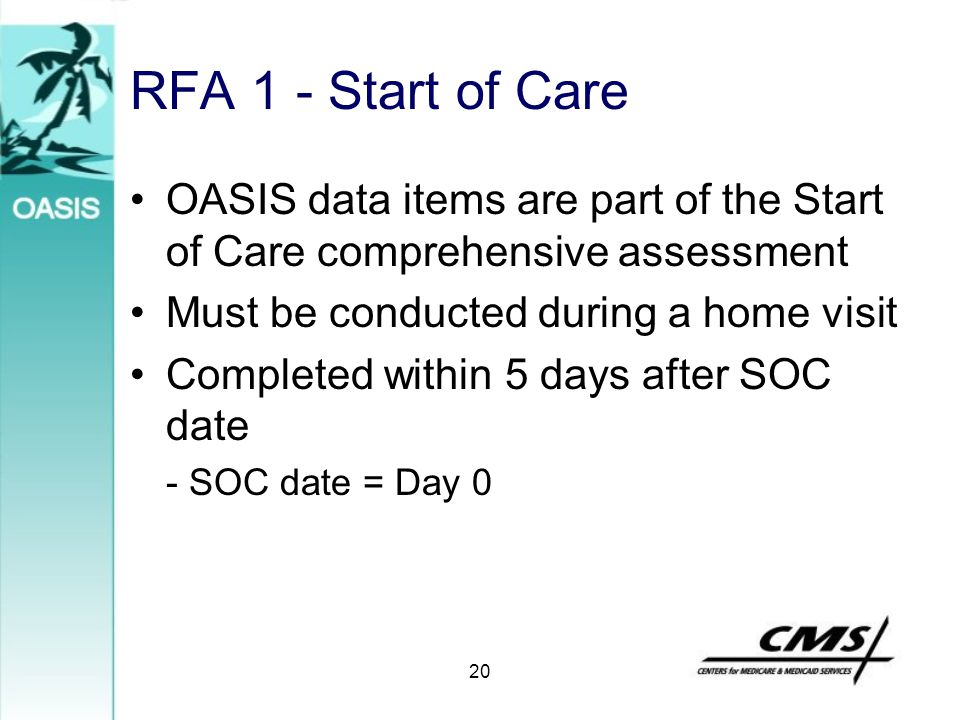 20 RFA 1 - Start of Care OASIS data items are part of the Start of Care comprehensive assessment Must be conducted during a home visit Completed withi