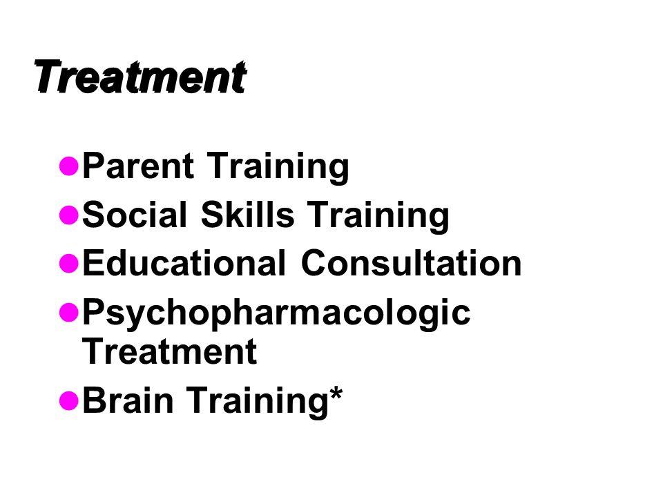 Treatment Parent Training Social Skills Training Educational Consultation Psychopharmacologic Treatment Brain Training*