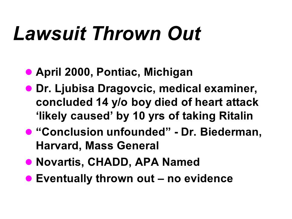 Lawsuit Thrown Out April 2000, Pontiac, Michigan Dr. Ljubisa Dragovcic, medical examiner, concluded 14 y/o boy died of heart attack 'likely caused' by
