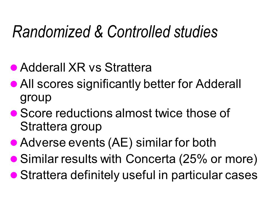 Randomized & Controlled studies Adderall XR vs Strattera All scores significantly better for Adderall group Score reductions almost twice those of Strattera group Adverse events (AE) similar for both Similar results with Concerta (25% or more) Strattera definitely useful in particular cases