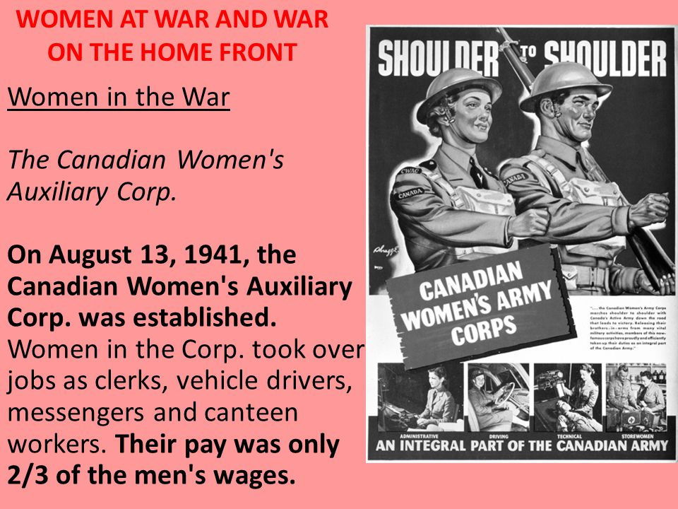 WOMEN AT WAR AND WAR ON THE HOME FRONT Women in the War The Canadian Women s Auxiliary Corp.