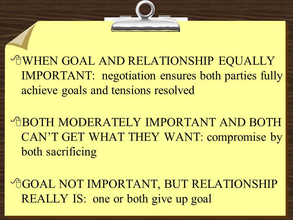 8WHEN GOAL AND RELATIONSHIP EQUALLY IMPORTANT: negotiation ensures both parties fully achieve goals and tensions resolved 8BOTH MODERATELY IMPORTANT A