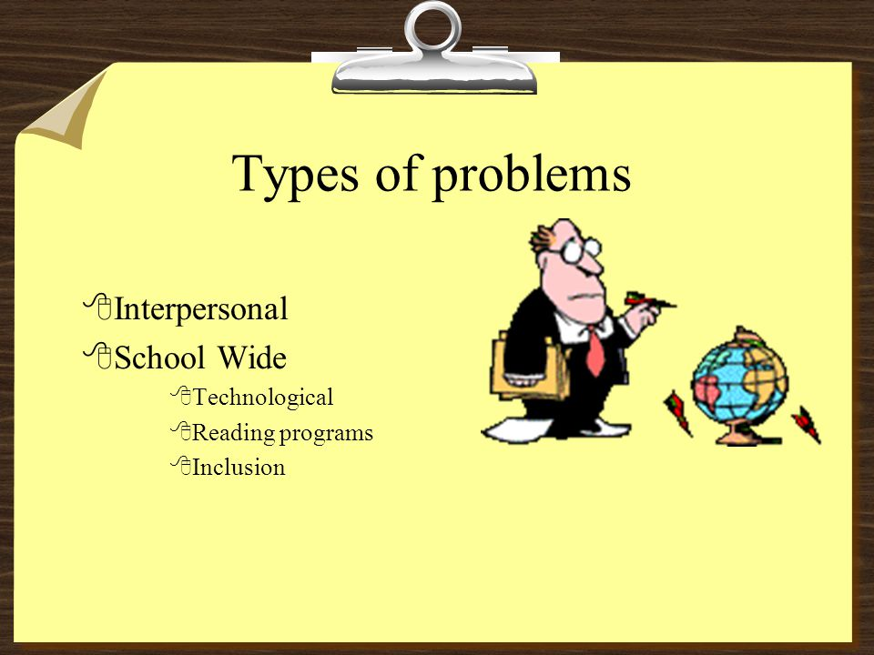Types of problems 8Interpersonal 8School Wide 8Technological 8Reading programs 8Inclusion