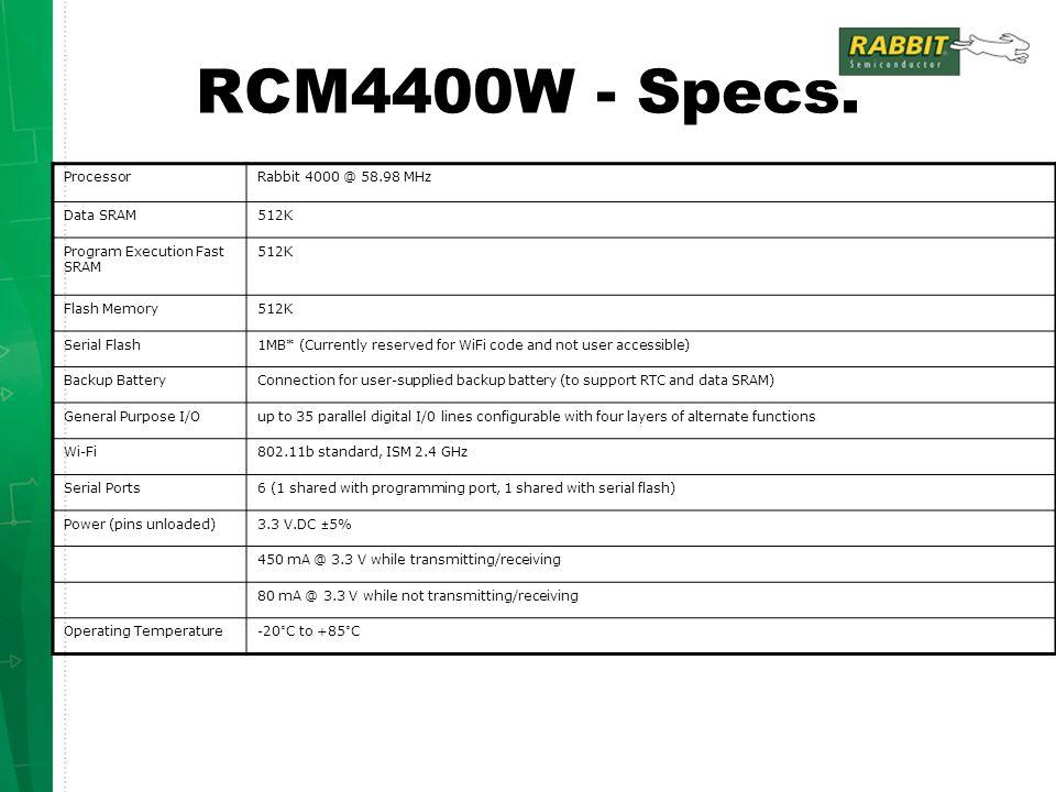 RCM4400W - Specs.
