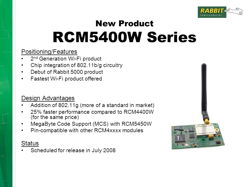 New Product RCM5400W Series Positioning/Features 2 nd Generation Wi-Fi product Chip integration of 802.11b/g circuitry Debut of Rabbit 5000 product Fastest Wi-Fi product offered Design Advantages Addition of 802.11g (more of a standard in market) 25% faster performance compared to RCM4400W (for the same price) MegaByte Code Support (MCS) with RCM5450W Pin-compatible with other RCM4xxxx modules Status Scheduled for release in July 2008