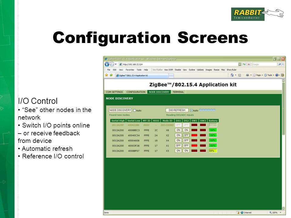 Configuration Screens I/O Control See other nodes in the network Switch I/O points online – or receive feedback from device Automatic refresh Reference I/O control