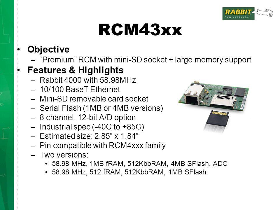 RCM4510W - Design Info 802.15.4 Zigbee compliant radio Ember chip mesh networking is not Zigbee certified … yet (planned for next year).