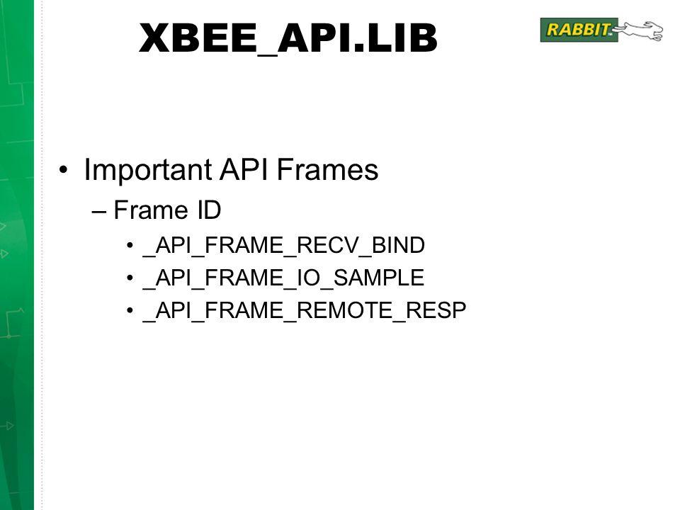 XBEE_API.LIB Important API Frames –Frame ID _API_FRAME_RECV_BIND _API_FRAME_IO_SAMPLE _API_FRAME_REMOTE_RESP