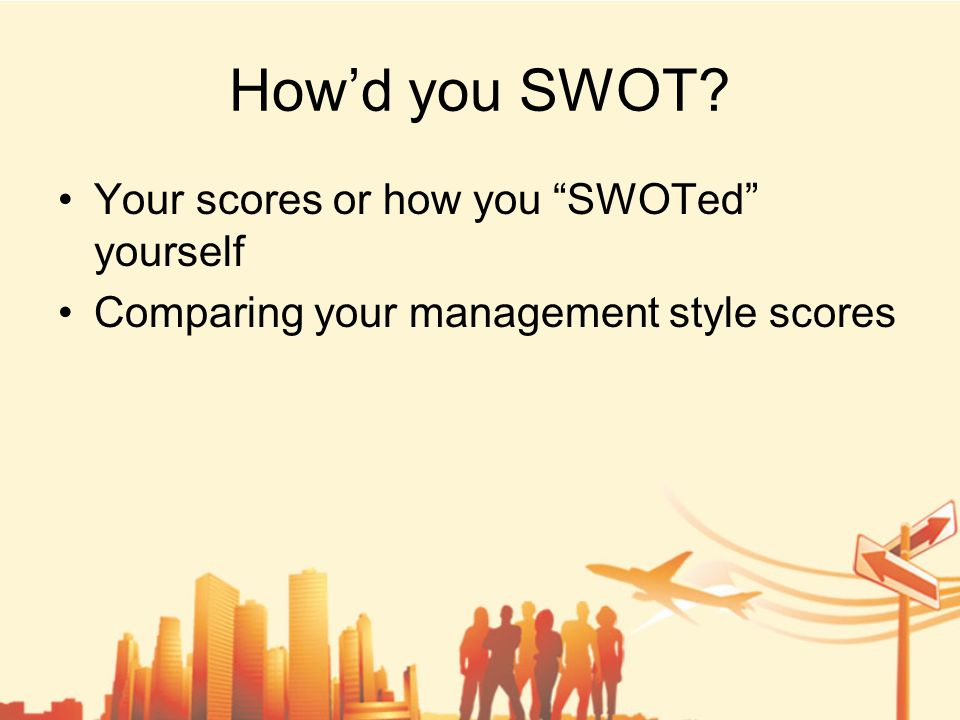 How'd you SWOT Your scores or how you SWOTed yourself Comparing your management style scores