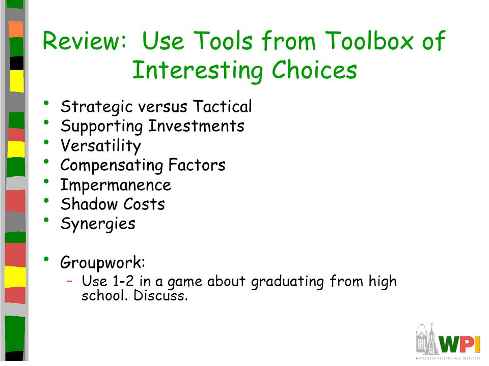 Review: Use Tools from Toolbox of Interesting Choices Strategic versus Tactical Supporting Investments Versatility Compensating Factors Impermanence Shadow Costs Synergies Groupwork: –Use 1-2 in a game about graduating from high school.