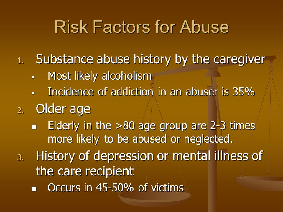 Risk Factors for Abuse 1.