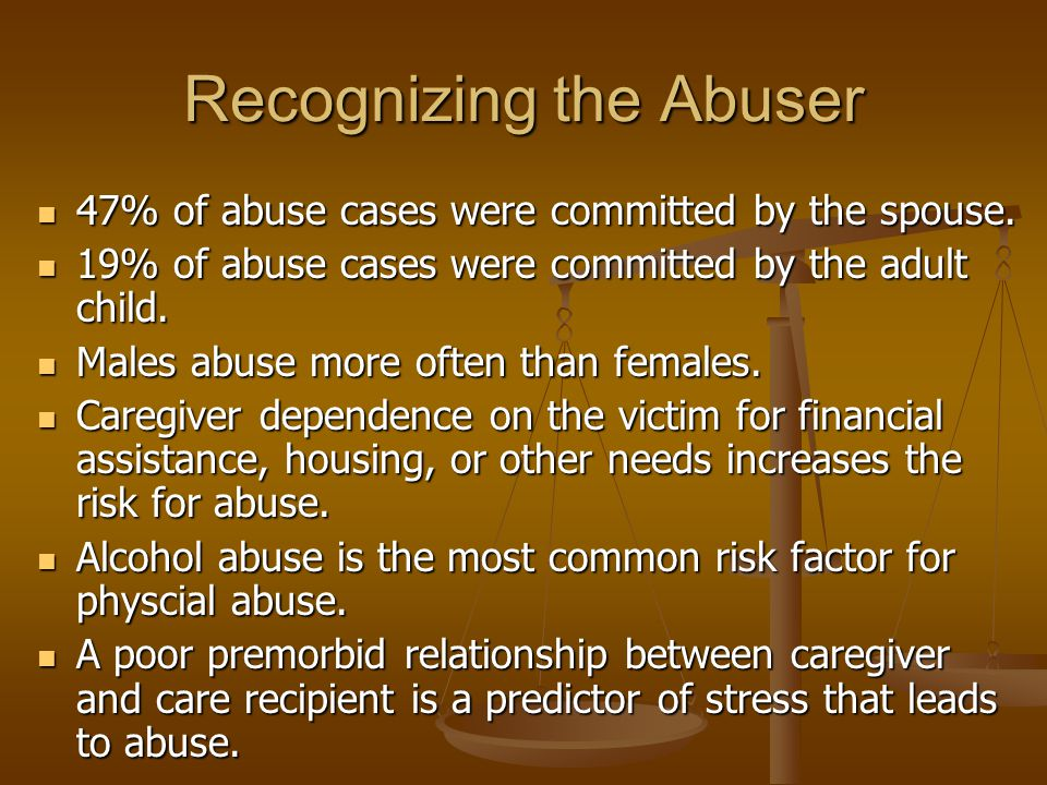 Recognizing the Abuser 47% of abuse cases were committed by the spouse.