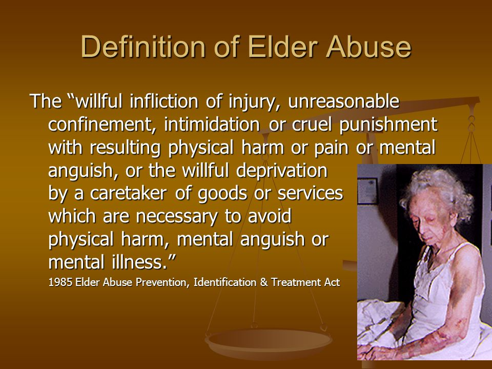 Summary Elder abuse is a very prevalent problem among the quickly expanding geriatric population.