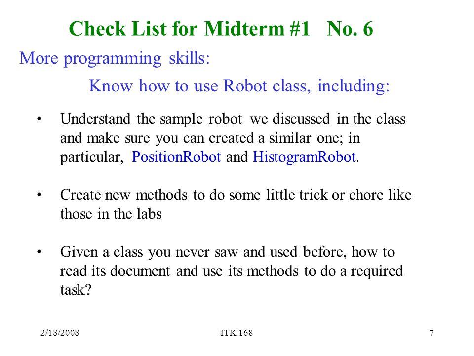 2/18/2008ITK 1687 Check List for Midterm #1 No.