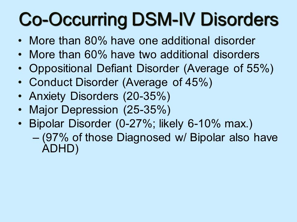 Co-Occurring DSM-IV Disorders More than 80% have one additional disorder More than 60% have two additional disorders Oppositional Defiant Disorder (Average of 55%) Conduct Disorder (Average of 45%) Anxiety Disorders (20-35%) Major Depression (25-35%) Bipolar Disorder (0-27%; likely 6-10% max.) –(97% of those Diagnosed w/ Bipolar also have ADHD)