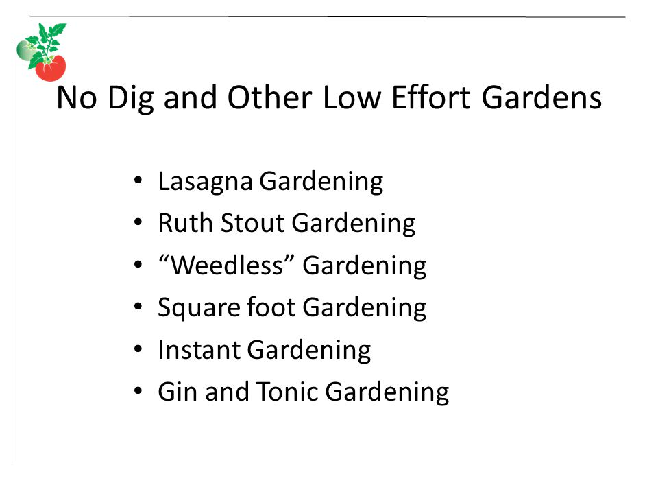 "No Dig and Other Low Effort Gardens Lasagna Gardening Ruth Stout Gardening ""Weedless"" Gardening Square foot Gardening Instant Gardening Gin and Tonic"