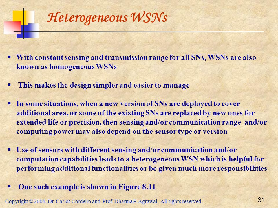 Copyright © 2006, Dr. Carlos Cordeiro and Prof. Dharma P. Agrawal, All rights reserved. 31 Heterogeneous WSNs  With constant sensing and transmission