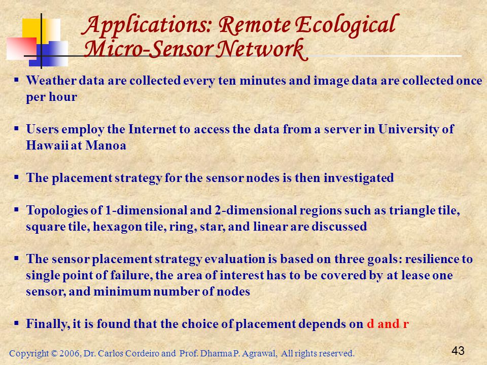 Copyright © 2006, Dr. Carlos Cordeiro and Prof. Dharma P. Agrawal, All rights reserved. 43 Applications: Remote Ecological Micro-Sensor Network  Weat