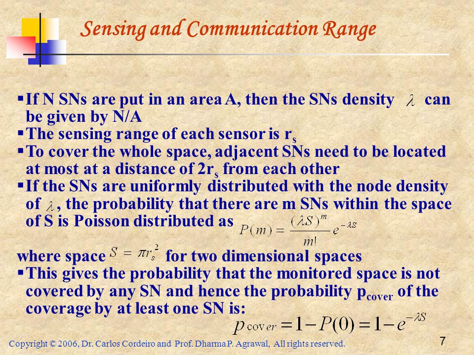 Copyright © 2006, Dr. Carlos Cordeiro and Prof. Dharma P. Agrawal, All rights reserved. 7 Sensing and Communication Range  If N SNs are put in an are