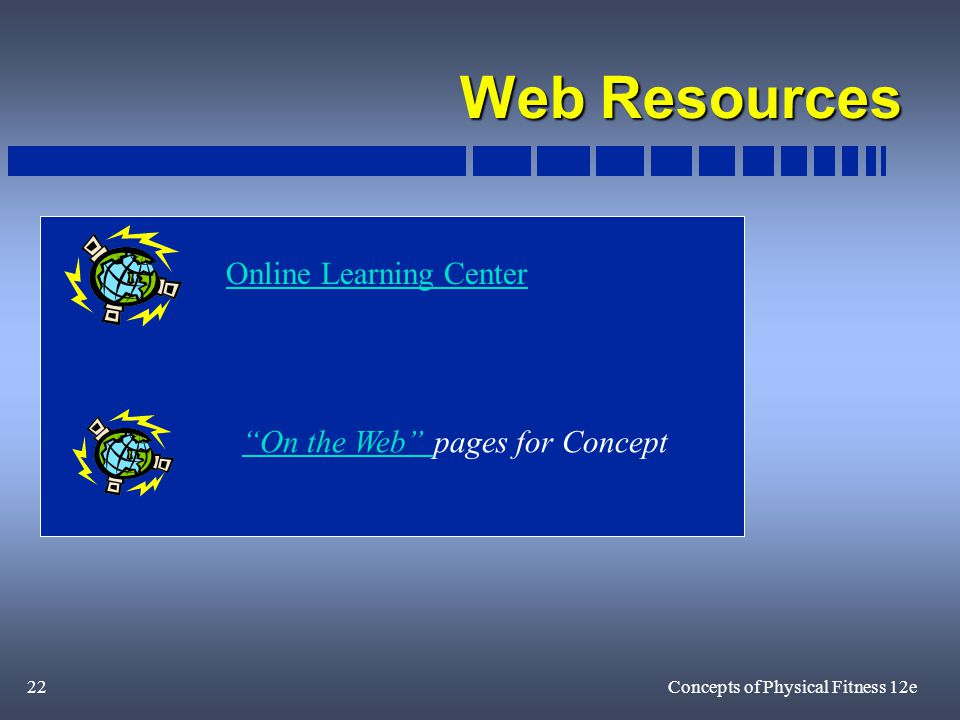 22Concepts of Physical Fitness 12e Web Resources On the Web On the Web pages for Concept Online Learning Center