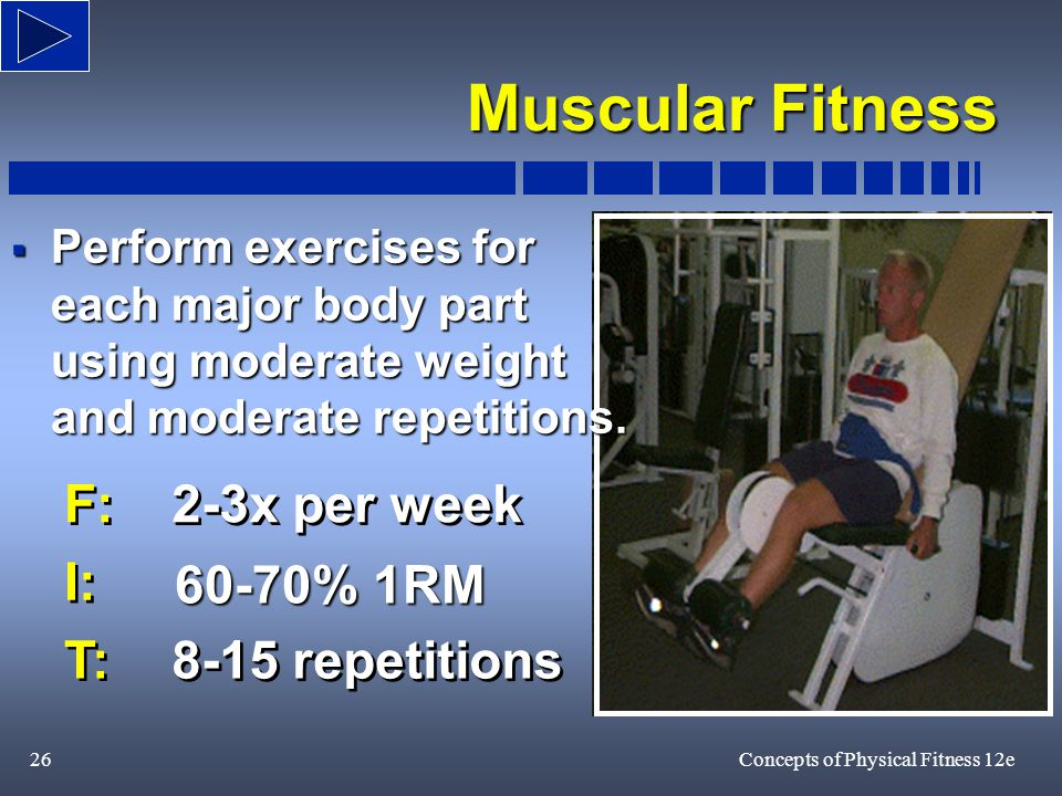 26Concepts of Physical Fitness 12e F: 2-3x per week F: 2-3x per week I: 60-70% 1RM I: T: 8-15 repetitions T: 8-15 repetitions  Perform exercises for each major body part using moderate weight and moderate repetitions.