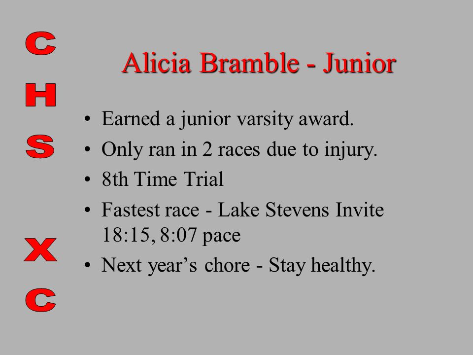 Alicia Bramble - Junior Earned a junior varsity award.