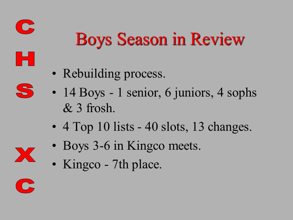 Boys Season in Review Rebuilding process. 14 Boys - 1 senior, 6 juniors, 4 sophs & 3 frosh.