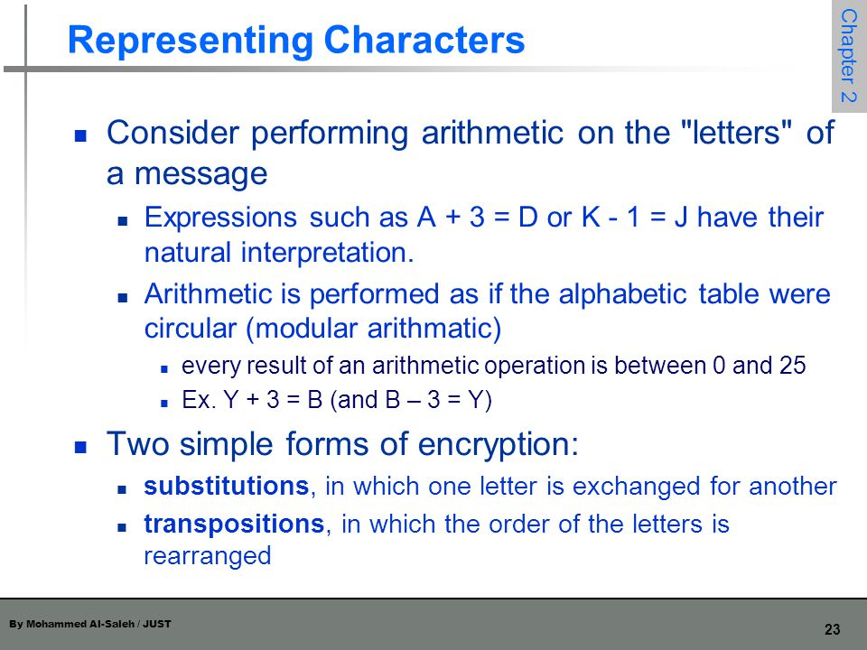 By Mohammed Al-Saleh / JUST 23 Chapter 2 Representing Characters Consider performing arithmetic on the