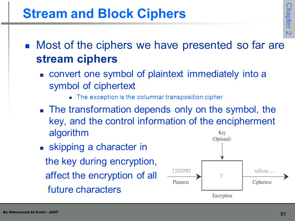 By Mohammed Al-Saleh / JUST 51 Chapter 2 Stream and Block Ciphers Most of the ciphers we have presented so far are stream ciphers convert one symbol o