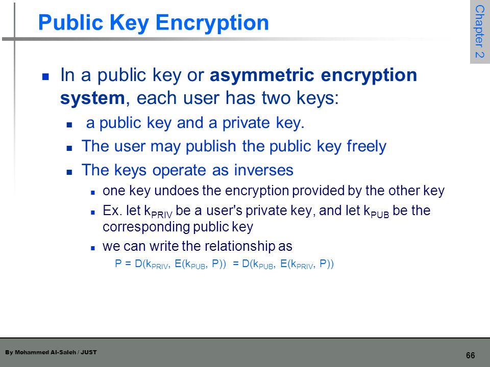 By Mohammed Al-Saleh / JUST 66 Chapter 2 Public Key Encryption In a public key or asymmetric encryption system, each user has two keys: a public key a