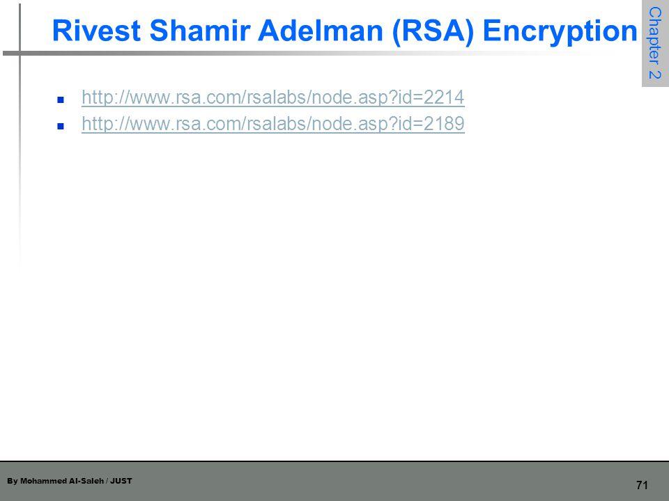 By Mohammed Al-Saleh / JUST 71 Chapter 2 Rivest Shamir Adelman (RSA) Encryption http://www.rsa.com/rsalabs/node.asp?id=2214 http://www.rsa.com/rsalabs
