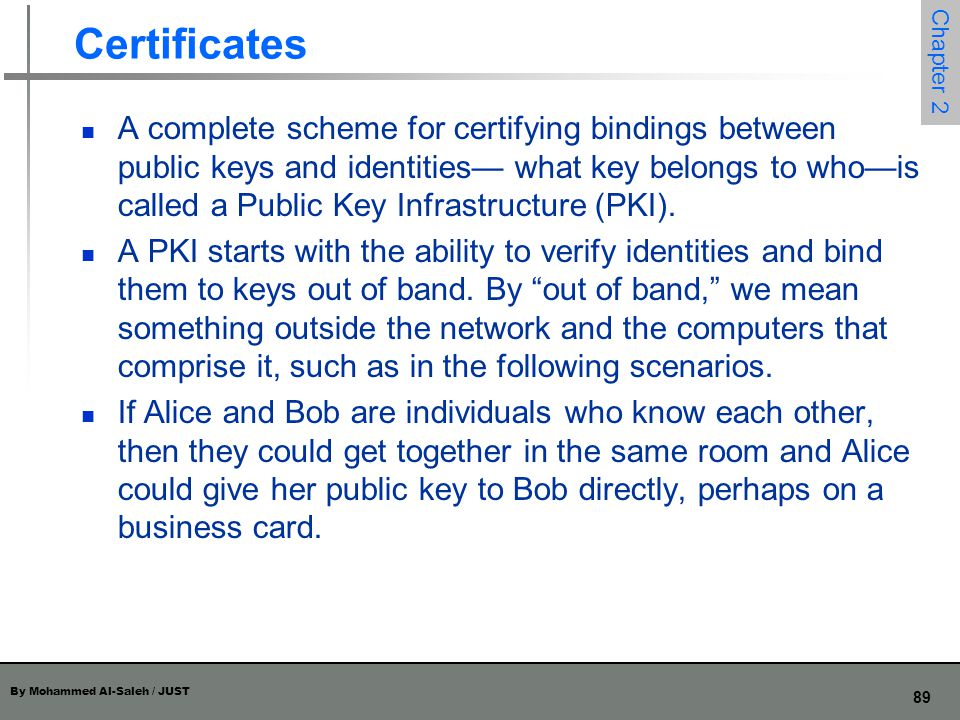 By Mohammed Al-Saleh / JUST 89 Chapter 2 Certificates A complete scheme for certifying bindings between public keys and identities— what key belongs t