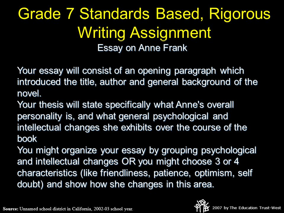 2007 by The Education Trust-West Grade 7 Standards Based, Rigorous Writing Assignment Source: Unnamed school district in California, 2002-03 school year.