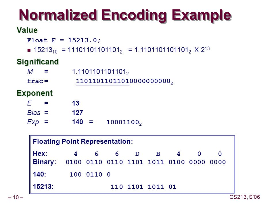 – 10 – CS213, S'06 Normalized Encoding Example Value Float F = 15213.0; 15213 10 = 11101101101101 2 = 1.1101101101101 2 X 2 13Significand M = 1.1101101101101 2 frac= 11011011011010000000000 2Exponent E = 13 Bias = 127 Exp = 140 = 10001100 2 Floating Point Representation: Hex: 4 6 6 D B 4 0 0 Binary: 0100 0110 0110 1101 1011 0100 0000 0000 140: 100 0110 0 15213: 110 1101 1011 01