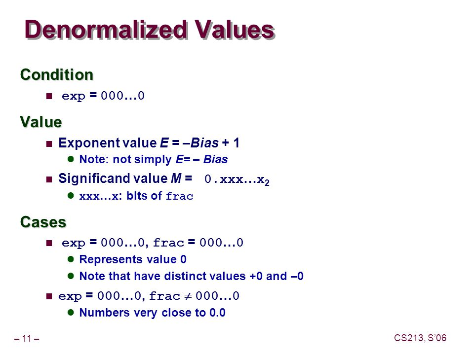 – 11 – CS213, S'06 Denormalized Values Condition exp = 000 … 0Value Exponent value E = –Bias + 1 Note: not simply E= – Bias Significand value M = 0.xxx … x 2 xxx … x : bits of fracCases exp = 000 … 0, frac = 000 … 0 Represents value 0 Note that have distinct values +0 and –0 exp = 000 … 0, frac  000 … 0 Numbers very close to 0.0