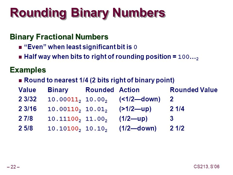 – 22 – CS213, S'06 Rounding Binary Numbers Binary Fractional Numbers Even when least significant bit is 0 Half way when bits to right of rounding position = 100 … 2Examples Round to nearest 1/4 (2 bits right of binary point) ValueBinaryRoundedActionRounded Value 2 3/32 10.00011 2 10.00 2 (<1/2—down)2 2 3/16 10.00110 2 10.01 2 (>1/2—up)2 1/4 2 7/8 10.11100 2 11.00 2 (1/2—up)3 2 5/8 10.10100 2 10.10 2 (1/2—down)2 1/2