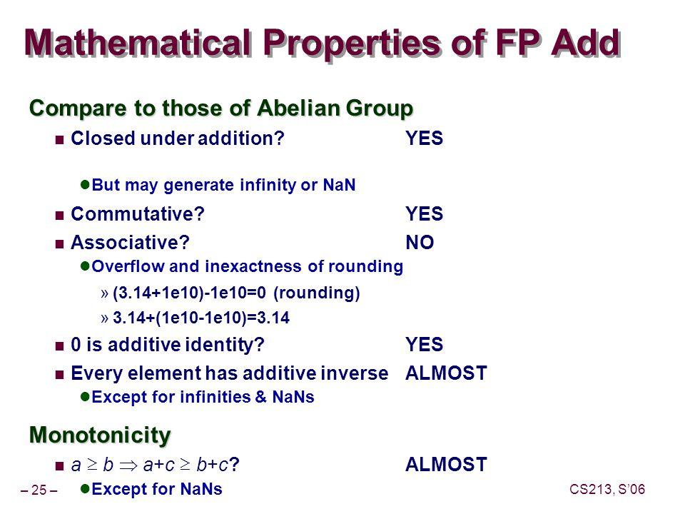 – 25 – CS213, S'06 Mathematical Properties of FP Add Compare to those of Abelian Group Closed under addition YES But may generate infinity or NaN Commutative YES Associative NO Overflow and inexactness of rounding »(3.14+1e10)-1e10=0 (rounding) »3.14+(1e10-1e10)=3.14 0 is additive identity YES Every element has additive inverseALMOST Except for infinities & NaNsMonotonicity a ≥ b  a+c ≥ b+c ALMOST Except for NaNs