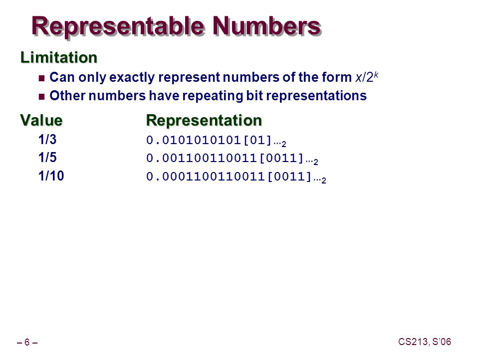 – 6 – CS213, S'06 Representable Numbers Limitation Can only exactly represent numbers of the form x/2 k Other numbers have repeating bit representations ValueRepresentation 1/3 0.0101010101[01]… 2 1/5 0.001100110011[0011]… 2 1/10 0.0001100110011[0011]… 2