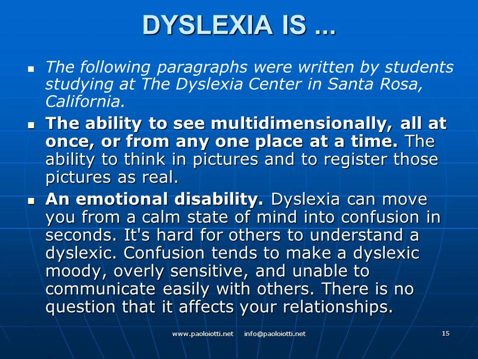 15 DYSLEXIA IS...