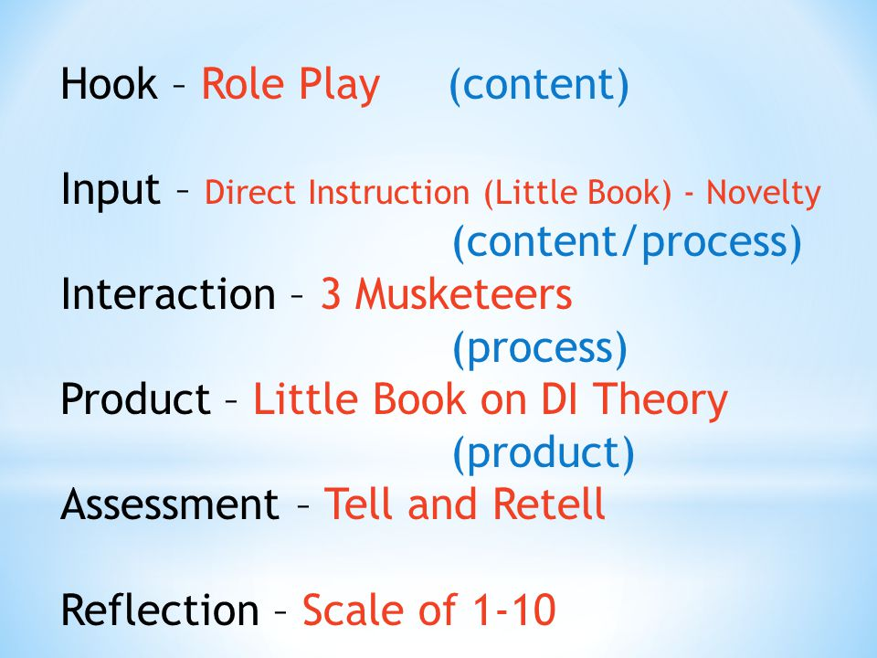 Hook – Role Play (content) Input – Direct Instruction (Little Book) - Novelty (content/process) Interaction – 3 Musketeers (process) Product – Little Book on DI Theory (product) Assessment – Tell and Retell Reflection – Scale of 1-10