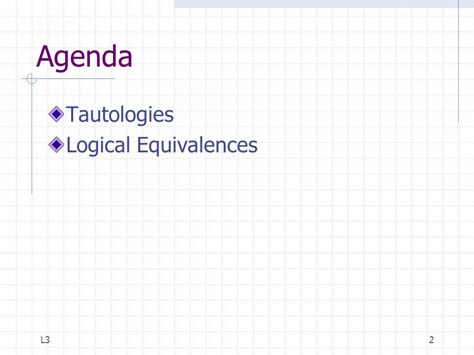 L32 Agenda Tautologies Logical Equivalences