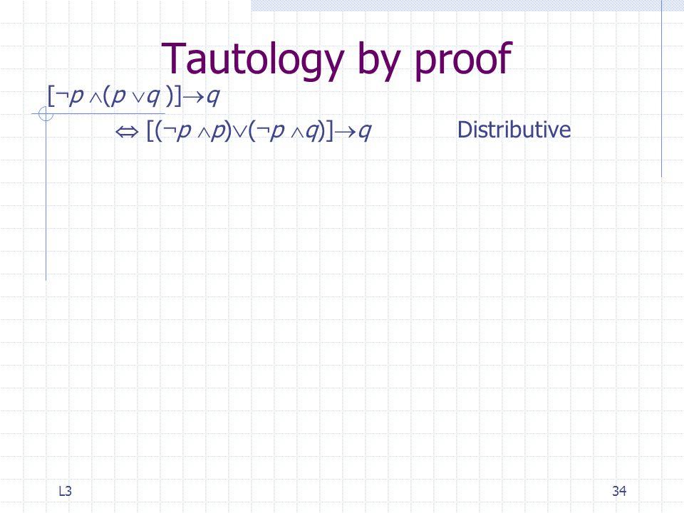 L334 Tautology by proof [ ¬ p  (p  q )]  q  [( ¬ p  p)  ( ¬ p  q)]  qDistributive