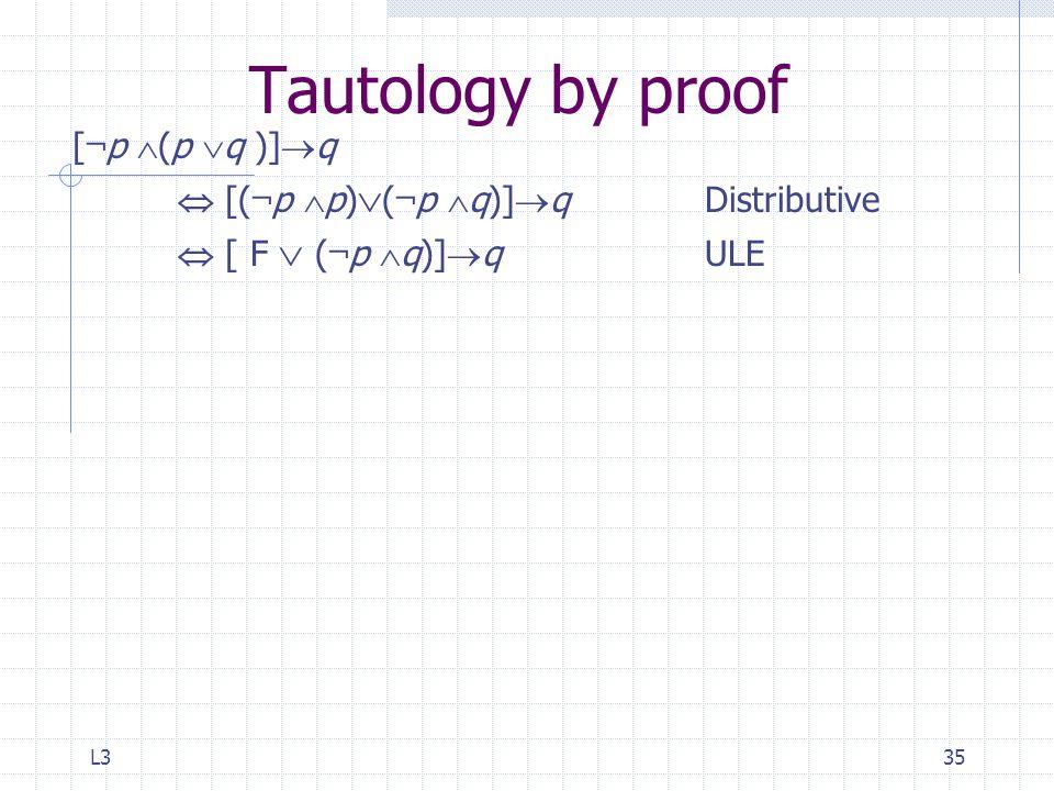 L335 Tautology by proof [ ¬ p  (p  q )]  q  [( ¬ p  p)  ( ¬ p  q)]  qDistributive  [ F  ( ¬ p  q)]  q ULE