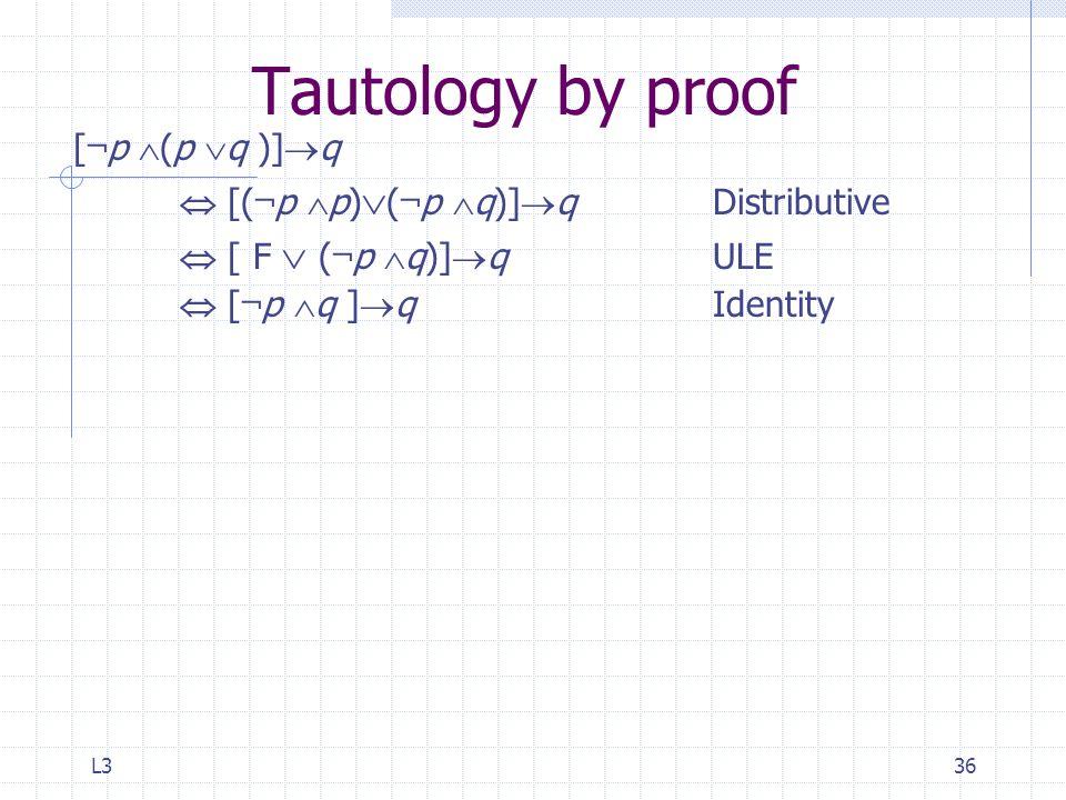 L336 Tautology by proof [ ¬ p  (p  q )]  q  [( ¬ p  p)  ( ¬ p  q)]  qDistributive  [ F  ( ¬ p  q)]  q ULE  [ ¬ p  q ]  q Identity
