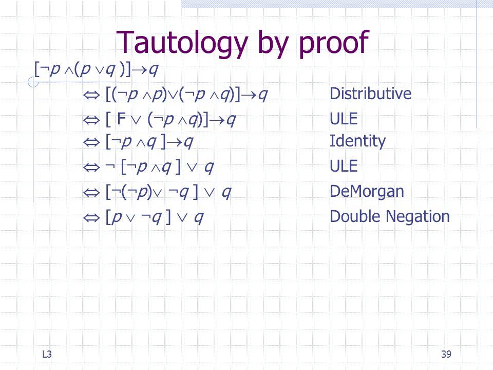 L339 Tautology by proof [ ¬ p  (p  q )]  q  [( ¬ p  p)  ( ¬ p  q)]  qDistributive  [ F  ( ¬ p  q)]  q ULE  [ ¬ p  q ]  q Identity  ¬ [