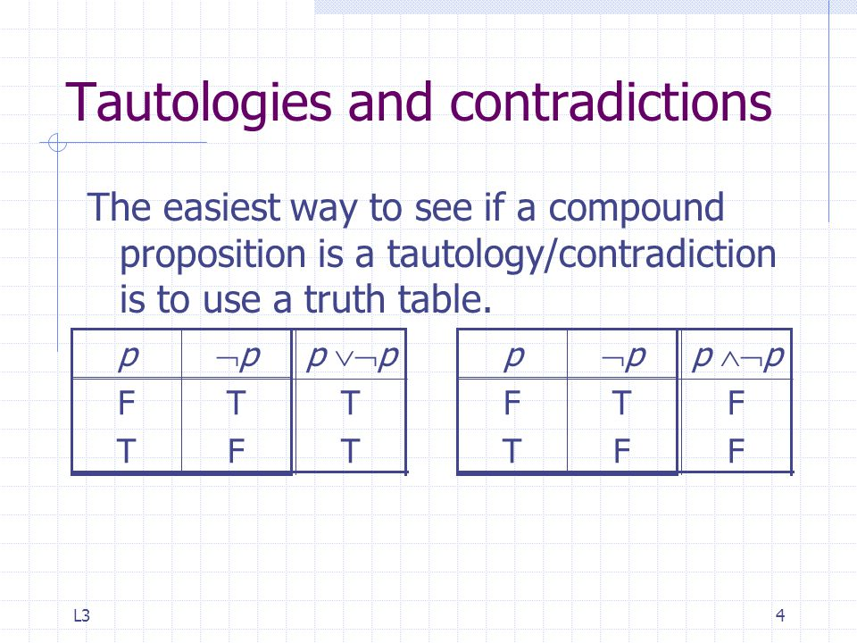 L34 Tautologies and contradictions The easiest way to see if a compound proposition is a tautology/contradiction is to use a truth table.