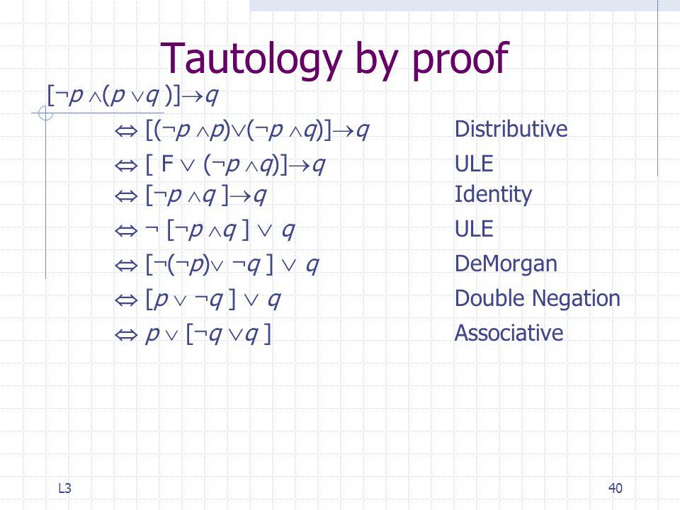 L340 Tautology by proof [ ¬ p  (p  q )]  q  [( ¬ p  p)  ( ¬ p  q)]  qDistributive  [ F  ( ¬ p  q)]  q ULE  [ ¬ p  q ]  q Identity  ¬ [