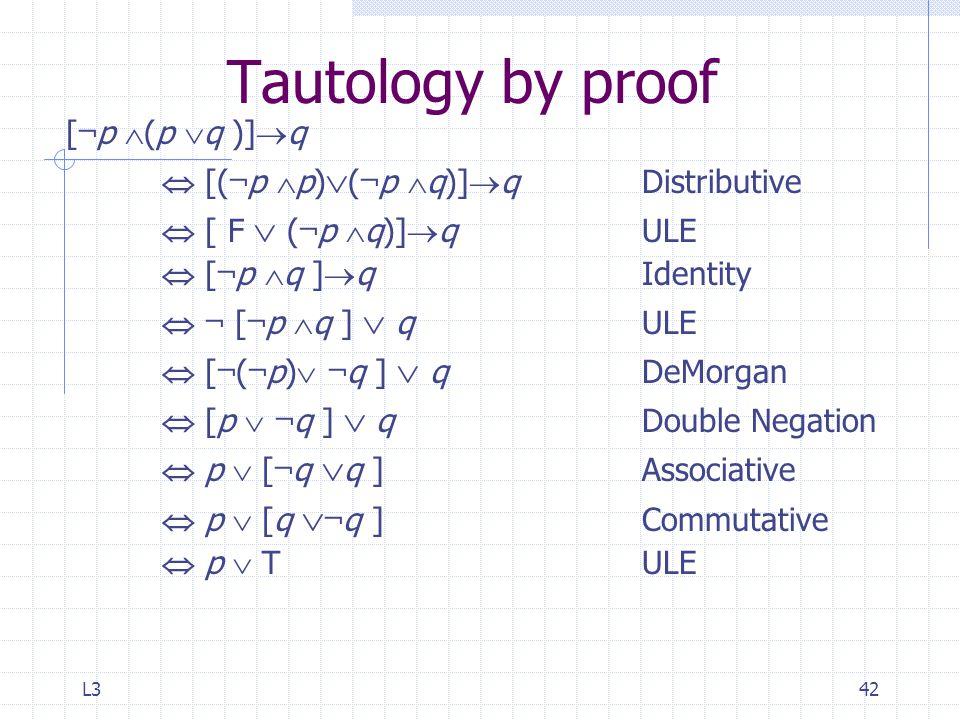 L342 Tautology by proof [ ¬ p  (p  q )]  q  [( ¬ p  p)  ( ¬ p  q)]  qDistributive  [ F  ( ¬ p  q)]  q ULE  [ ¬ p  q ]  q Identity  ¬ [